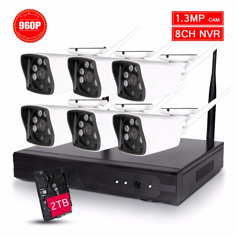 Waterproof high definition 6X 960P HD Wireless Video Security System NVR Kit 1.3MP Bullet IP Cameras Night Vision 2TB Hard Drive