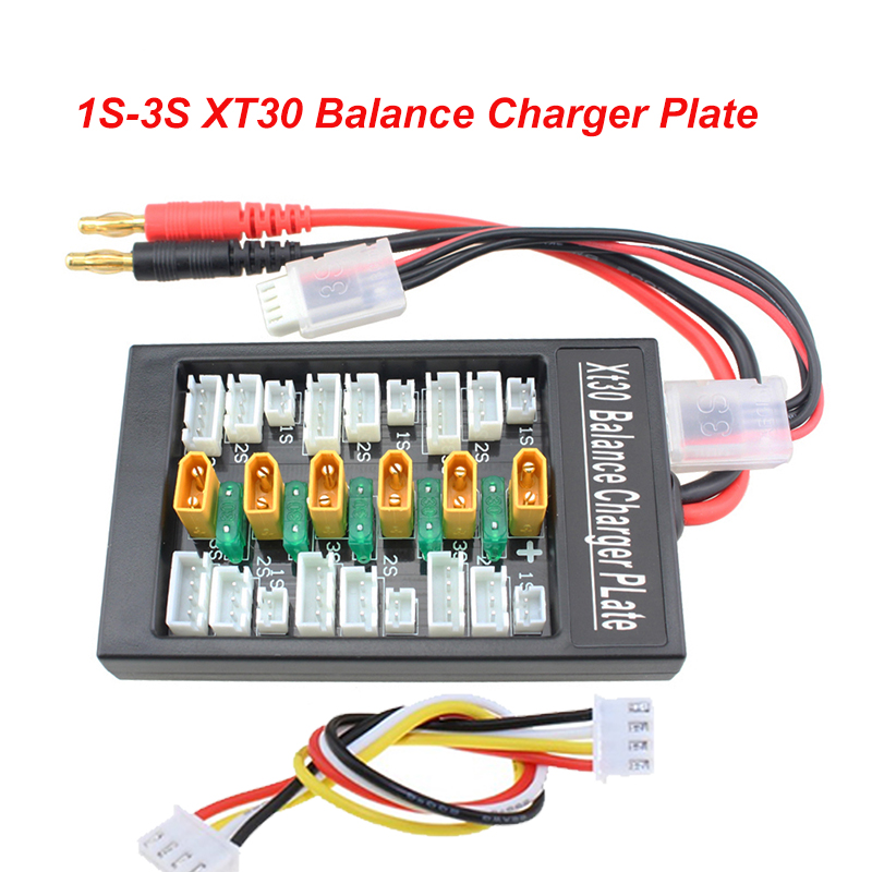Lipo Charger Adaptor Board Plate 1S-3S XT30 Plug Parallel for 1S 2S 3S LiPo Batteries Compatible with 6pcs XT30 to JST Cable image