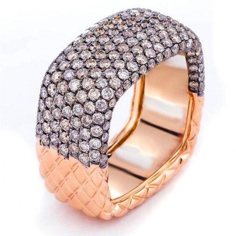 2019 nouveauté bijoux de mode chaude 925 en argent Sterling et or remplir Double couleur pavé 5A zircon cubique femmes bague de mariage