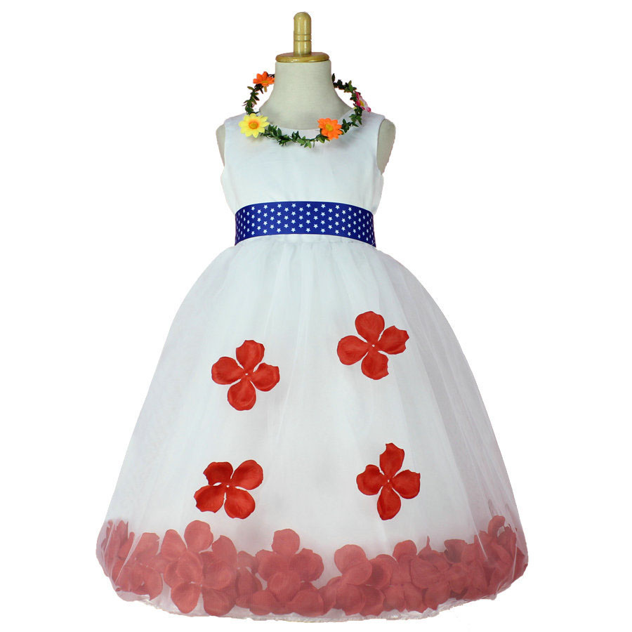 Fashion Children Bridesmaid Petal Bottom Knee Length White Flower