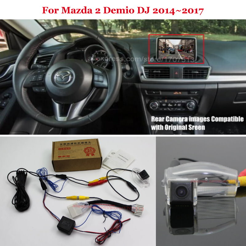 HD Car Rear View Back Up Reverse Camera Sets Night Vision For For Mazda 2 Demio DJ 2014~2017 - RCA & Original Screen Compatible