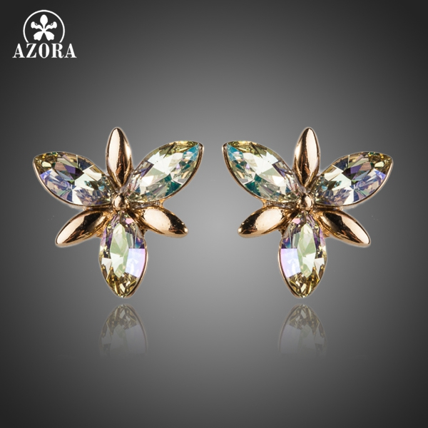 Azora Gold Color Stellux Austrian Crystal Flower Stud Earrings Te0054 In From Jewelry Accessories On Aliexpress Alibaba Group