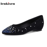 Lenkisen 2018 pointed toe slip on appliques stars causal shoes concise style solid kid suede high street fashion women flats L02