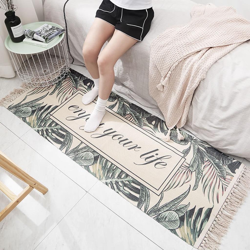 Géométrique résistant à l'usure pur coton tissé gland antidérapant tapis chambre salon tapis de sol tapis de salle de bain absorber l'eau - 4