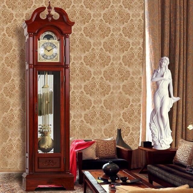 Mahogany Grandfather Clock Wood Living Room European Style Mechanical Pendulum Movement Antique Legislation