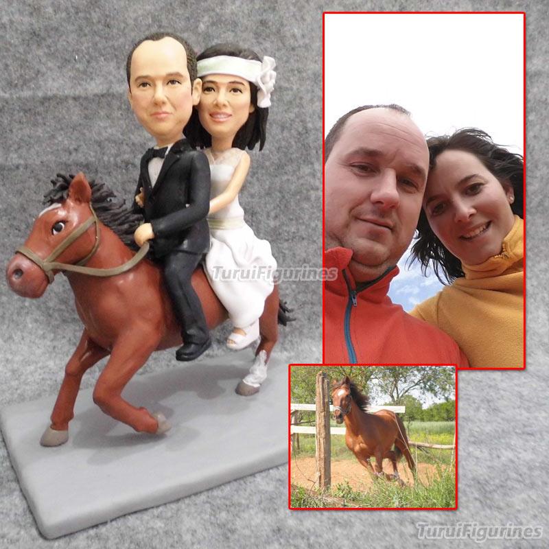 Ooak подарок на Рождество свадебный торт Топпер украшения для верховой езды лошадь Невеста и жених свадебный подарок пользу кукла из полимер