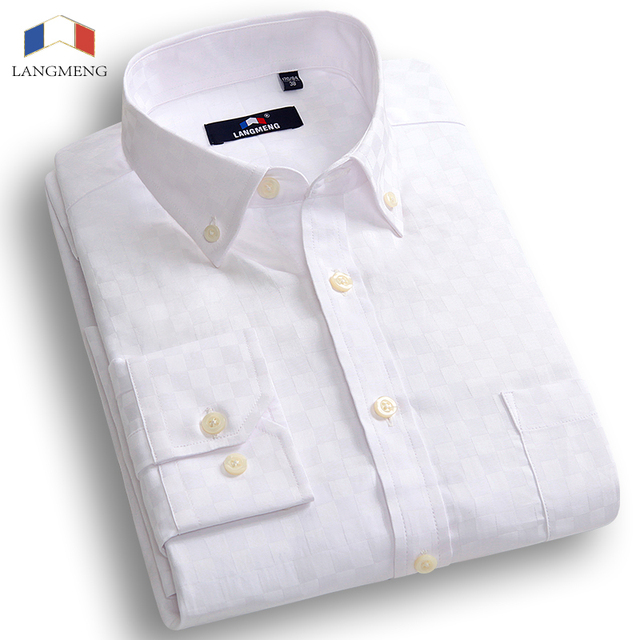 Langmeng New Arrival Fashion Solid Color Mens Long Sleeved Casual Shirt Men Camisa Masculina Slim Fit Chemise Homme Dress Shirts