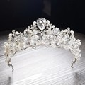Gorgeous Silver Crystal Pearl Bridal Tiaras Wedding Hair Accessories Baroque Rhinestone Pageant Crown Diadem for Bride Headbands