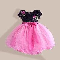 סתיו תינוקות בנות נסיכת שמלת הילדה רוז פרחוני שרוול קצר שמלות תחרה עם 3 חגורת Bow מסיבת ילד בגדי חתונה 3-8 T