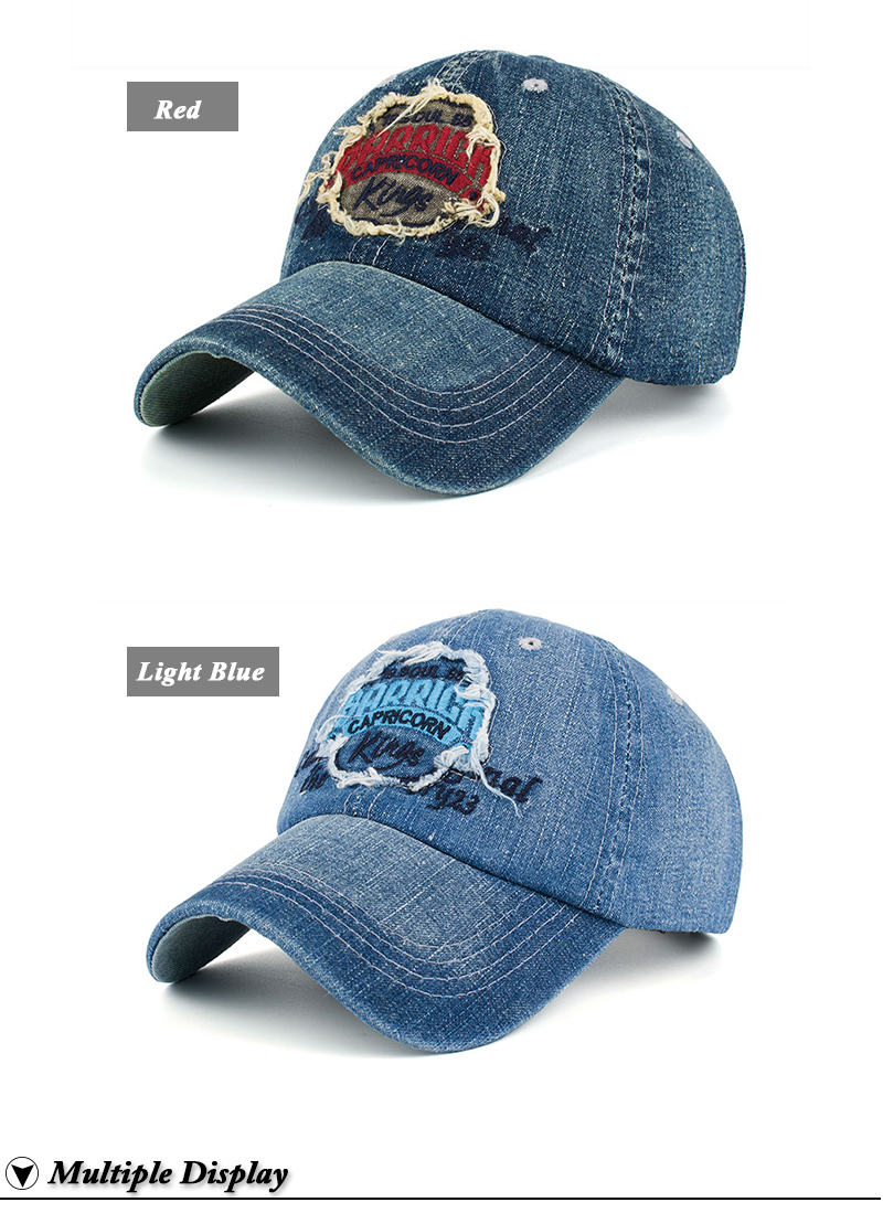 """Embroidered """"Capricorn"""" Baseball Cap - Red Embroidery and Light Blue Embroidery Options"""