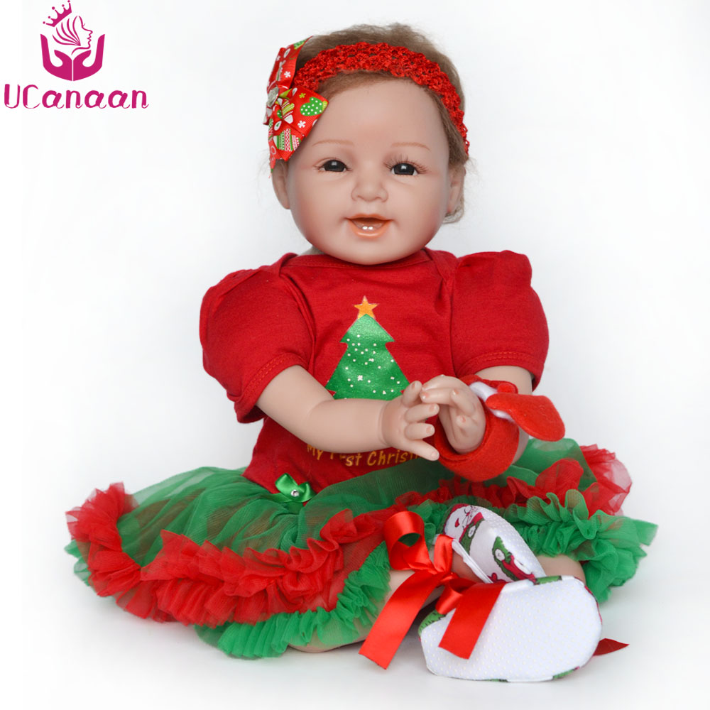 UCanaan Vinyl Silicone Doll Reborn 55cm/22'' Soft Baby Alive Toys For Girls Handmade Newborn Babies Reborn Dolls Christmas Gift new ucanaan 50 55cm silicone reborn doll playhouse toys npk doll toys fashion dolls for boys gift the best christmas gift