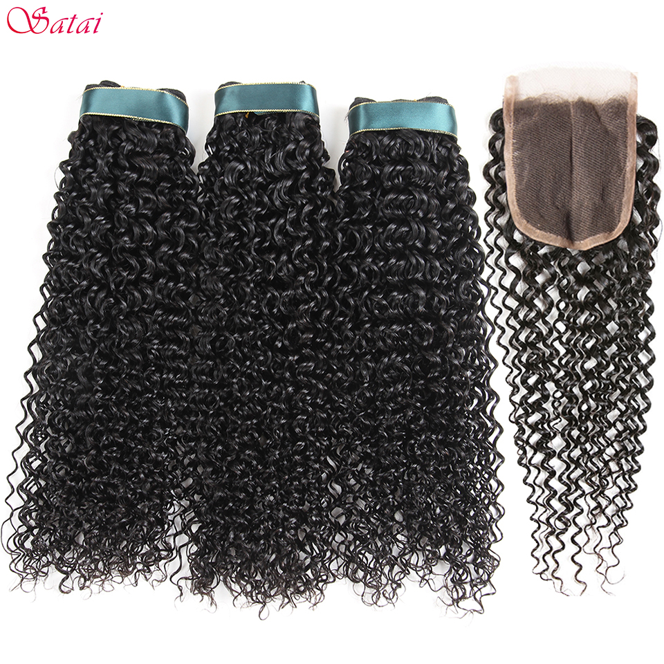 Satai Kinky Curly Hair 3 Bundles with Closure Middle Part Natural Color Human Hair Brazilian Hair