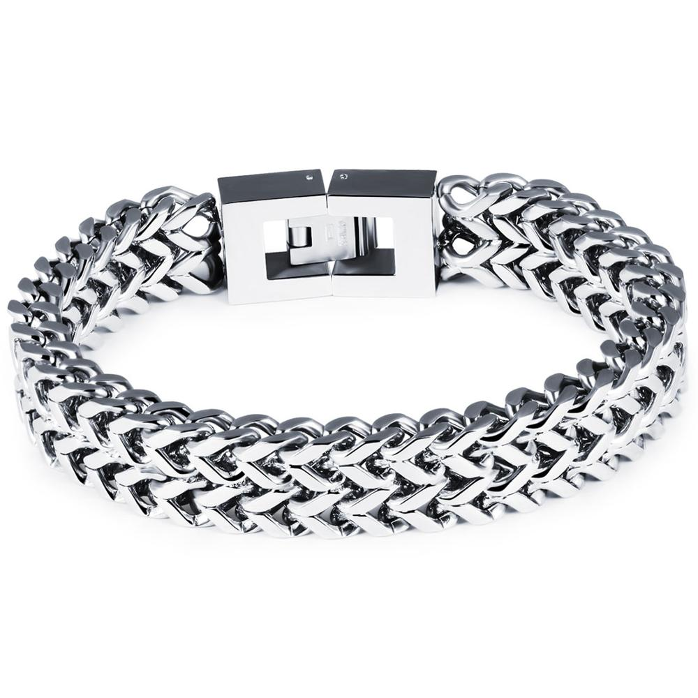 Granny Chic Double Rope Chain Mens Stainless Steel Bracelet Silver Polished Color Punk Style Biker Jewelry 21cm