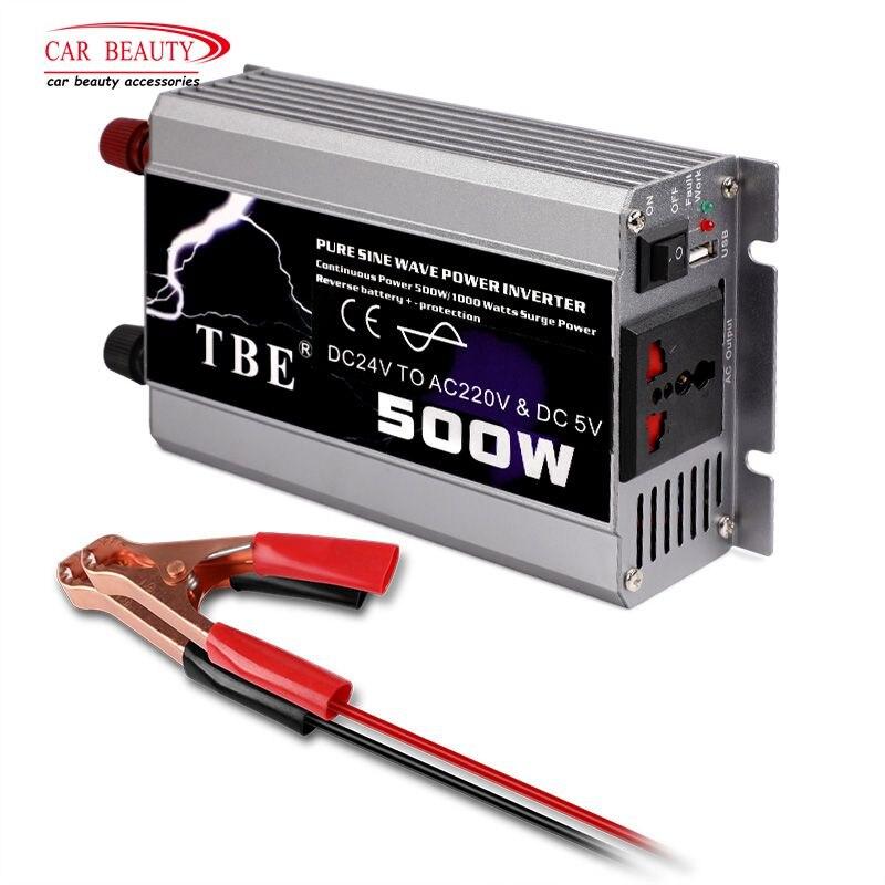 500 W voiture onduleur 24 V DC à AC 220 V 50Hz Auto onduleur 24 220 pur onde sinusoïdale adaptateur convertisseur de puissance onduleur avec Port USB