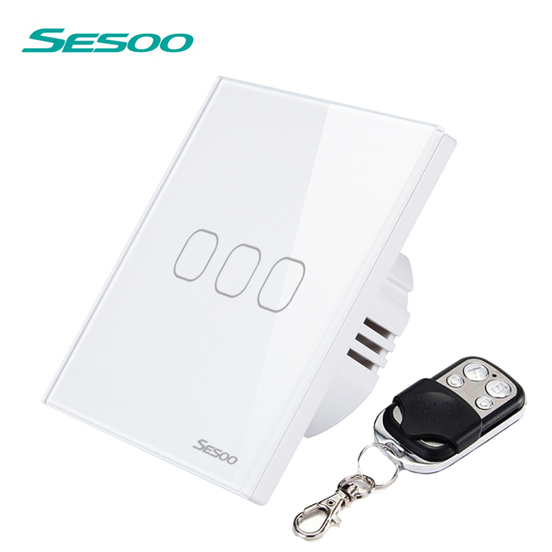 EU/UK Standard SESOO Remote Control Switches 3 Gang 1 Way,Wireless remote control wall touch switch,Crystal Glass Switch Panel uk standard remote touch switch black crystal glass panel 3 gang 1 way remote control wall switch with led indicator
