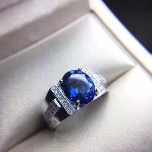 Dark blue topaz, men's ring, 9