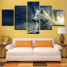 643f8e9db Modular Pictures Living Room HD Prints Canvas 5 Pieces Animal White Fox  Paintings Home Decor Wolf