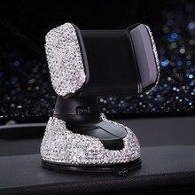 Soporte Universal de teléfono para coche, con diamantes de imitación de cristal, para IPhone, Smartphone, Coche