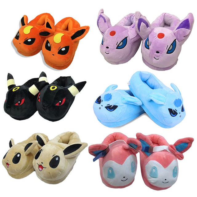 2016 Hot Anime Cartoon Pocket Monster Pikachu Plush Shoes Home Keychain Winter Slippers For Children Women Men Pokemon