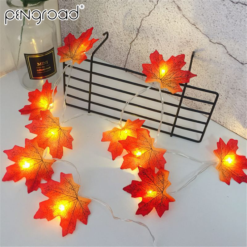 4M 40 Leds Maple Leaves LED Light String Garland Battery Powered Fairy Lights Outdoor Home Stair Railing Fence Decor Light PD053