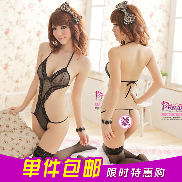 Sexy lace tulle nightgown jumpsuits female perspective wave point open fork hang neck suits the temptation