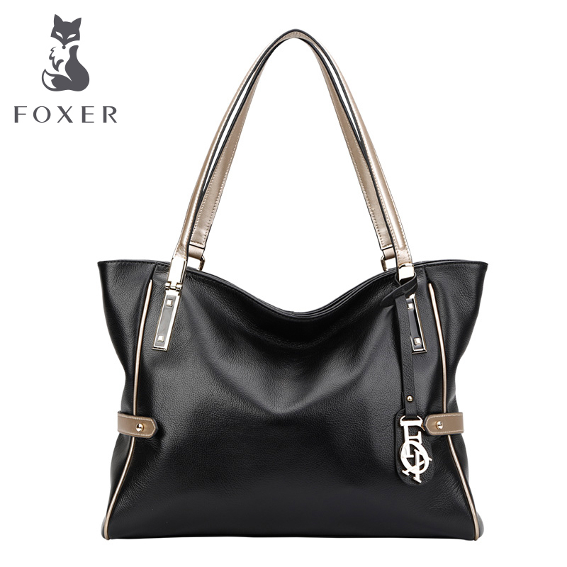 FOXER Brand Women Genuine Leather Shoulder bag New style handbag Women's Tote Female bags foxer shoulder