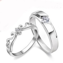 цена на Free shipping MSF brand fashion new design angel wings 925 sterling silver & swiss zircon & platinum plated lovers couple rings