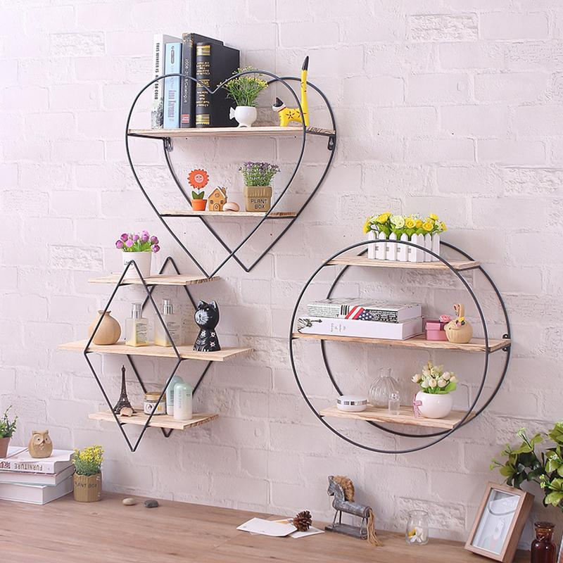 Iron Art Wooden Wall Bookcase Shelving Supporter Bracket Retro Solid Wood Wall Coat Hanger wall hung shelf