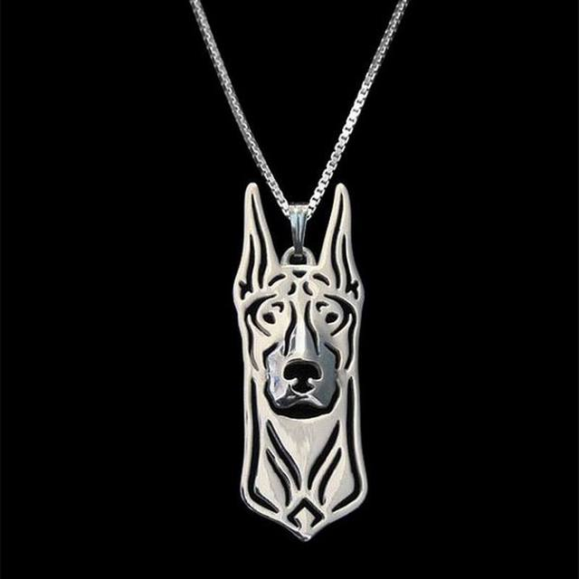 2018 Hot Sale Female  Plated Metal Dog Necklaces Lovers' Doberman Jewelry Pendant Necklaces Drop Shipping