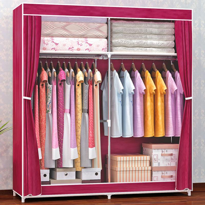 Modern Thicken 16 MM Steel Pipe Reinforcement Wardrobe 360 Degree Dustproof Cloth Wardrobe Bedroom Clothes Storage Cabinet