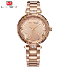 MINI FOCUS Women Watches Waterproof Brand Luxury Fashion Casual Ladies Quartz Watch Rose Gold Stainless Steel And Leather Strap