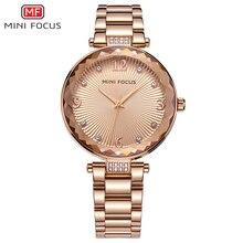 MINI FOCUS zegarki damskie wodoodporna marka luksusowa moda Casual Ladies zegarek kwarcowy różowe złoto ze stali nierdzewnej i skórzany pasek