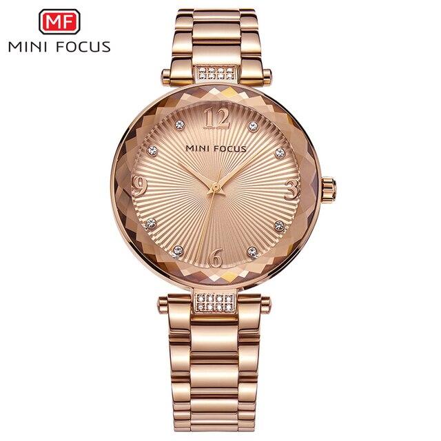 Mini foco relógios femininos à prova dwaterproof água marca de luxo moda casual senhoras relógio de quartzo rosa ouro aço inoxidável e pulseira de couro