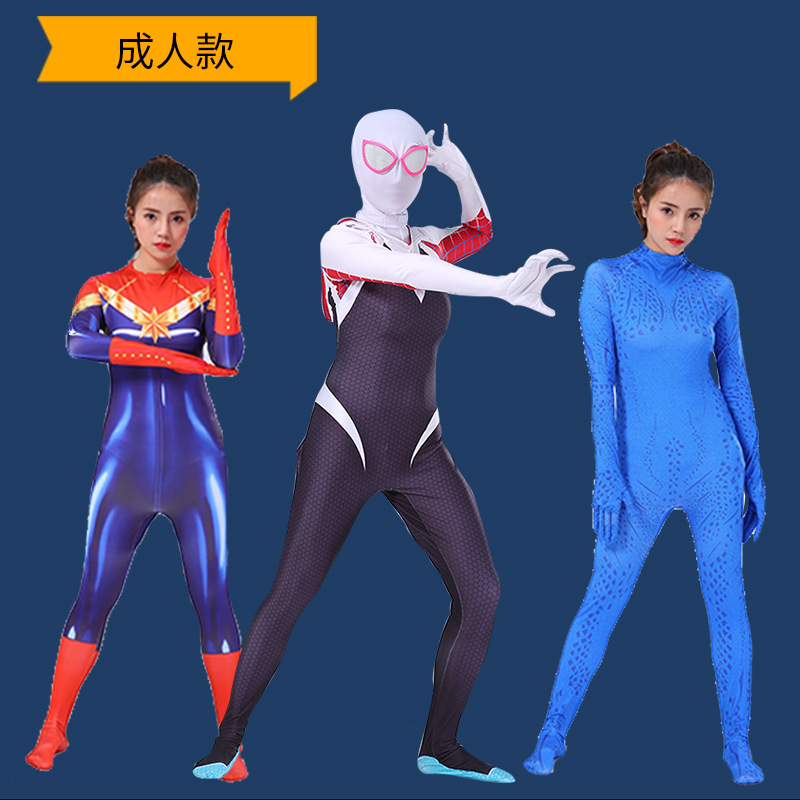 New Spider Gwen Stacy Spandex Lycra Zentai Spiderman Costume Samus Zero Aran Cosplay Women  Captain Marvel Suit Anti-Venom Gwen