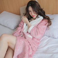 Winter Bathrobes Woman Striped Flannel Simple Lady Full Warm Thick Nightgowns Pink Robe Female High Quality Home Wear Hot Sale