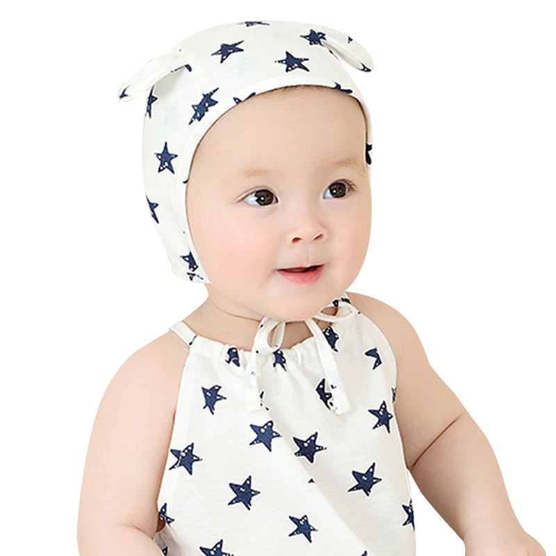 Cotton Star Baby Beanie Hat Cute Ears Infant Baby Beanie Photography Props Lace Up Ear Protect Beanie Casual Baby Boys Clothing