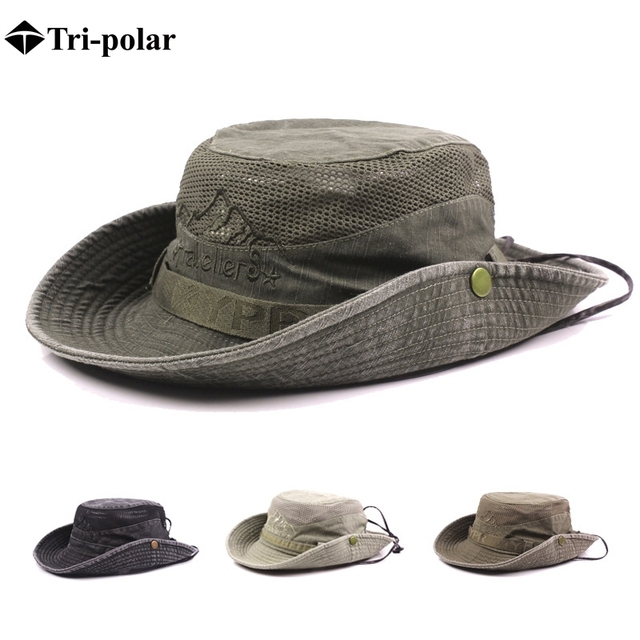 601a7ea7c73e6 Tri-polar Hiking Hat Men Wide Brim Foldable Cap Summer Hat Sun Protection Hunting  Hat