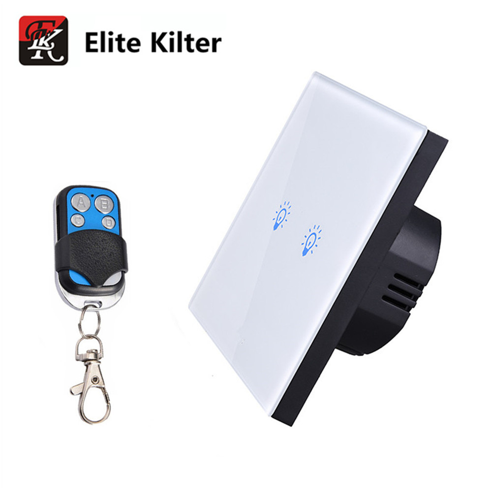 Elite Kilter Crystal Glass Panel wall switch EU Standard 2 gang 1 way Touch Switch  With Mini Remote Controller smart home us au wall touch switch white crystal glass panel 1 gang 1 way power light wall touch switch used for led waterproof