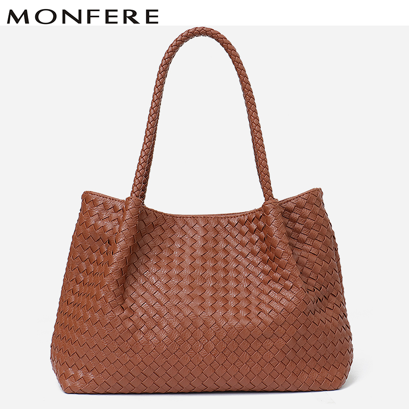 dc2841637ea6 Detail Feedback Questions about MONFERE Brand Tote Bag Women Handbag Woven  Shoulder Large Female Faux Leather Big Ladies High Quality Top handle  Liner&Purse ...