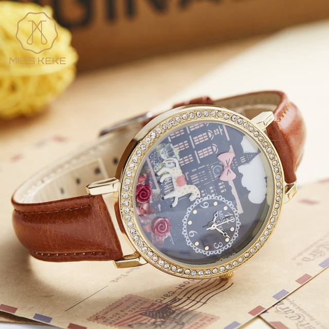 Cute Children 3D Clay Horse Designer Cartoon Watch Kids Quartz Watch Bracelet Leather Casual Wristwatches Miss Keke Brand 1815