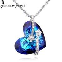 Jewecexpress Gwiazdy kształt serca niebieski Kryształ Naszyjnik