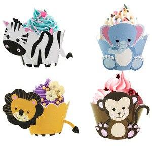 12 sztuk Jungle Party Decor zwierzęta ciasto Wrapper wykaszarki dzieci urodziny babeczka na przyjęcie materiały dekoracyjne