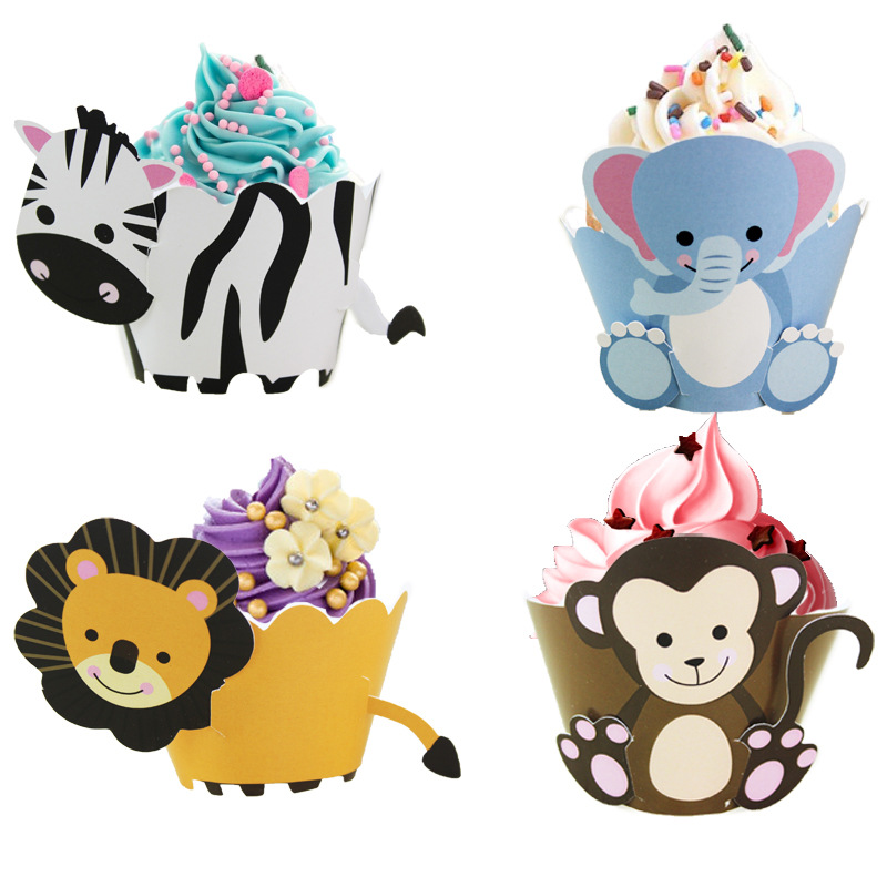 12pcs Jungle Party Decor Animals Cake Wrapper Toppers Kids Birthday Cupcake Decoration Supplies