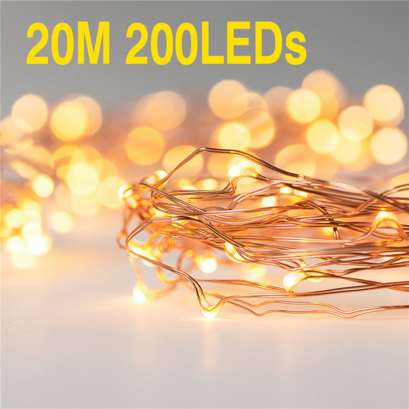 20M 200LED String Light Waterproof LED Copper Wire String Battery Operate For Holiday Outdoor For Christmas Party Wedding Decor