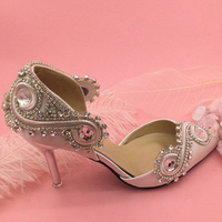 New Arrival Rhinestone Crystal Wedding Shoes Satin Bridal Shoes Pointed Toe High Heel Gorgeous Party Prom