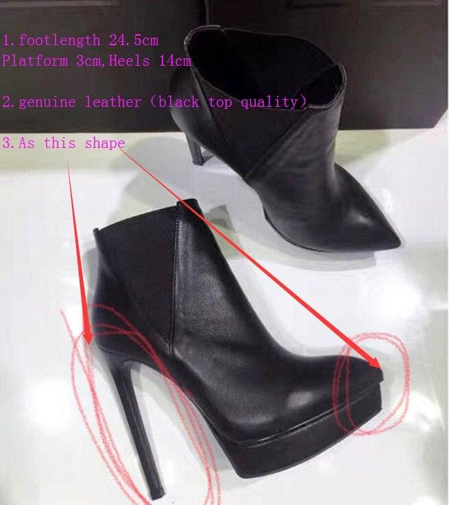 Personalizzare Stivali Scarpe Del Altezza 8 Black Cm Nero Cuoio Della Tacco Piattaforma Fsj 5 Di Genuino Taglia Lusso Qualità 3 14 Hd5Wqx1S