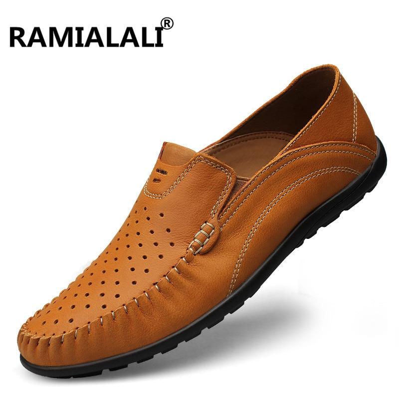 Ramialali Genuine Leather Shoes Men Breathable Casual Shoes Men Loafers Soft Comfortable Peas Shoes Zapatillas Hombre Plus 45 46