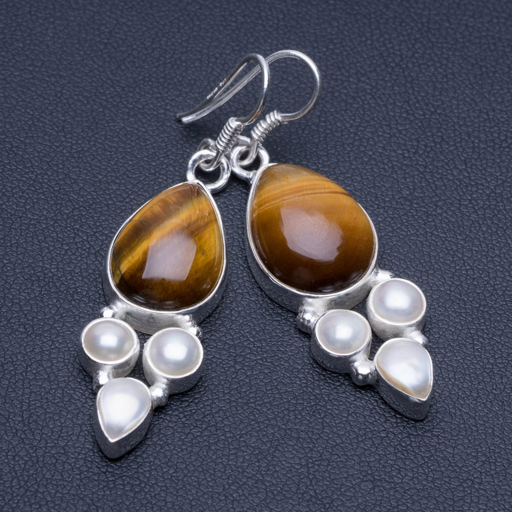 Natural Tiger Eye and River Pearl Unique Punk Style 925 Sterling Silver Earrings 2 P1713Natural Tiger Eye and River Pearl Unique Punk Style 925 Sterling Silver Earrings 2 P1713