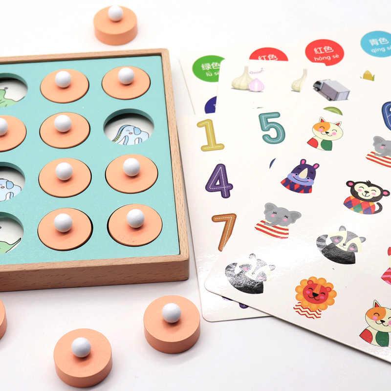 Montessori Speicher Spiel Schach Spiel 3D Puzzles Holz Frühen Pädagogisches Familie Party Casual Interaktion Spiel Spielzeug Für Kinder Kid