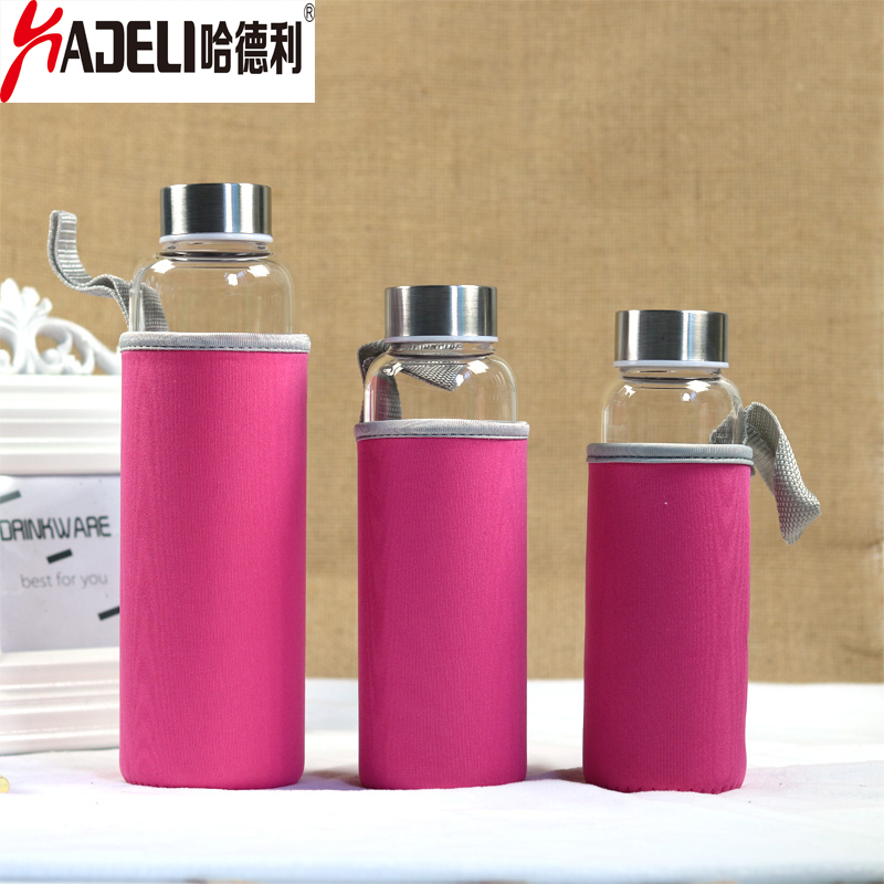 HADELI Hot Sale Glass Water Bottle With Protective Bag 280ml/360ml/500ml Outdoor Bike Bottles High Quality drink bottle